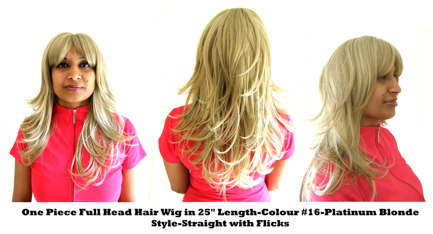 "One Piece Full Head Hair Wig in 25"" Length-Colour-#16-Platinum Blonde-Style-Straight with Flicks"