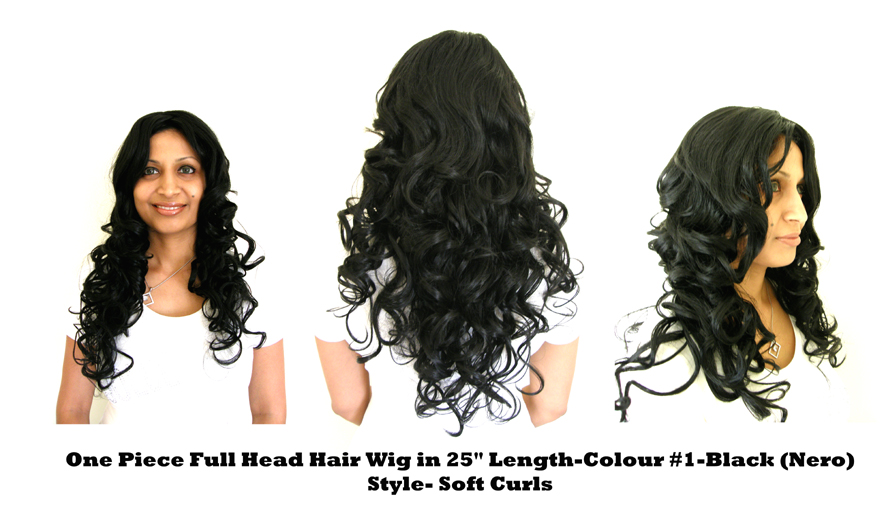 "One Piece Full Head Hair Wig in 25"" Length-Colour #1-Black (Nero)-Style-Soft Curls"