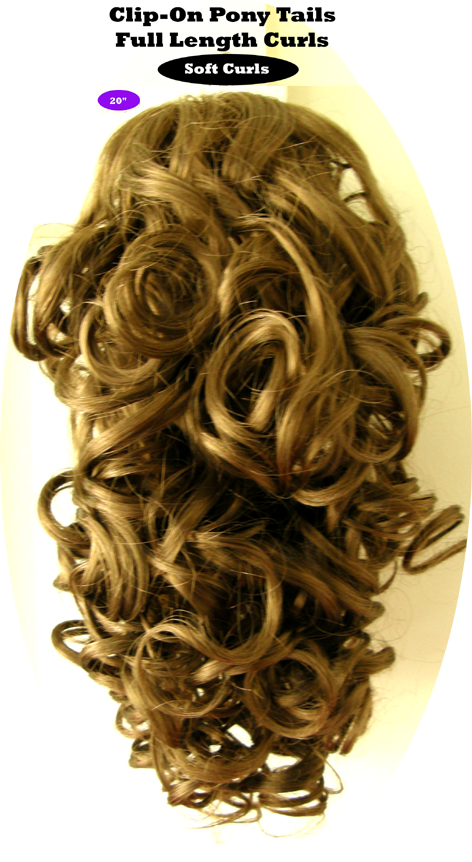 """Clip-On Pony Tails-20"""" length-Style-Full Length Curls-Colour #8-Light Golden Brown"""