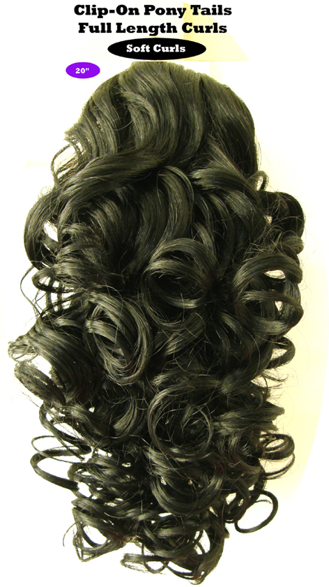 "Clip-On Pony Tails-20"" length-Style-Full Length Curls-Colour #1-Black (Nero)"