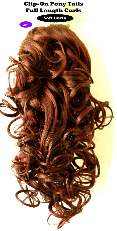 "Clip-On Pony Tails-20"" length-Style-Full Length Curls-Colour BG-Burgundy"