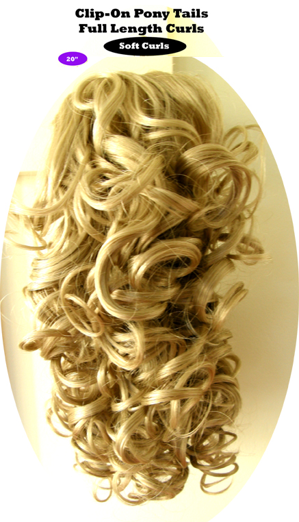 """Clip-On Pony Tails-20"""" length-Style-Full Length Curls-Colour #16-Platinum Blonde"""