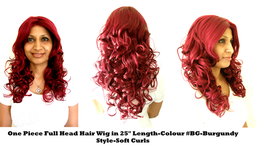"One Piece Full Head Hair Wig in 25"" Length-Colour #BG-Burgundy-Style-Soft Curls"