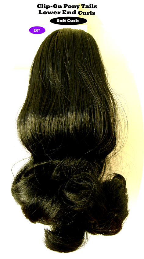 "Clip-On Pony Tails-20"" length-Style-Lower End Curls-Colour #1-Black (Nero)"