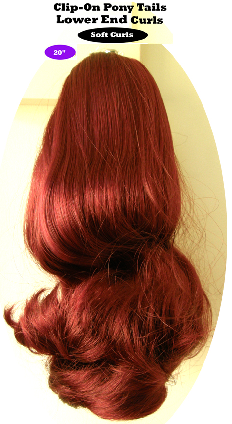 "Clip-On Pony Tails-20"" length-Style-Lower End Curls-Colour #BG-Burgundy"