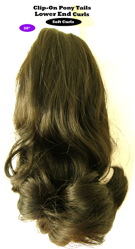 "Clip-On Pony Tails-20"" length-Style-Lower End Curls-Colour #2-Dark Brown"