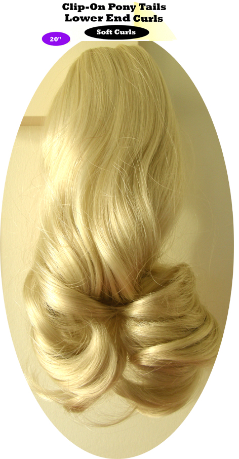 "Clip-On Pony Tails-20"" length-Style-Lower End Curls-Colour #60-Ashen Blonde"