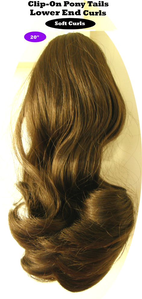 "Clip-On Pony Tails-20"" length-Style-Lower End Curls-Colour #8-Light Golden Brown"
