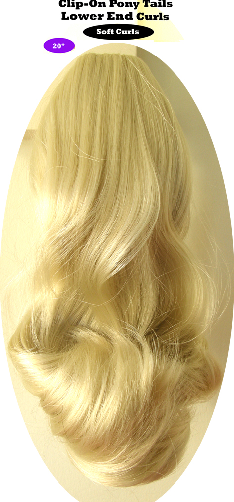 "Clip-On Pony Tails-20"" length-Style-Lower End Curls-Colour #613-Super Light Blonde"
