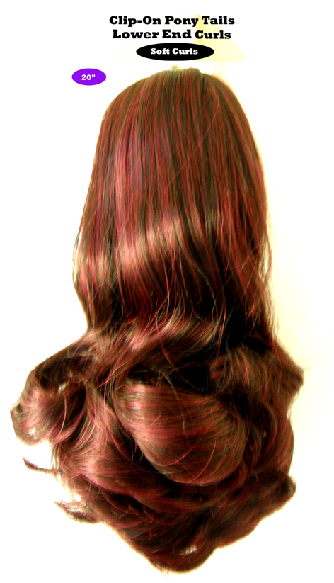 "Clip-On Pony Tails-20"" length-Style-Lower End Curls-Colour #530-Dark Chestnut"