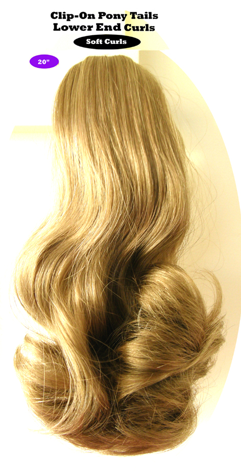 "Clip-On Pony Tails-20"" length-Style-Lower End Curls-Colour #16-Platinum Blonde"