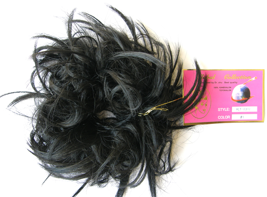 Hair Scrunchie-Style-Light Curls with Flicks-Colour-#1-Black (Nero)