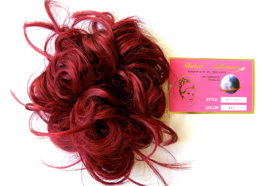 Hair Scrunchie-Style-Light Curls with Flicks-Colour-#BG-Burgundy