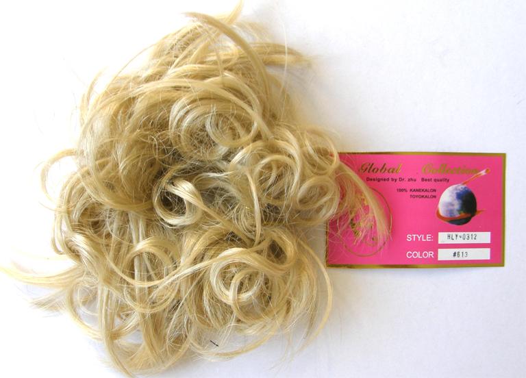 Hair Scrunchie-Style-Light Curls with Flicks-Colour-#613-Super Light Blonde