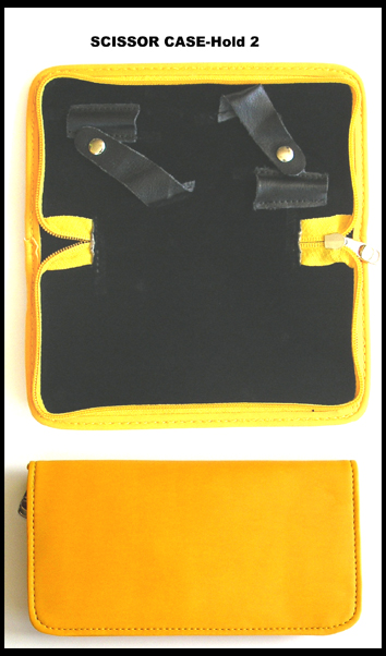 Vinyl Rectangular Scissor Case-Holds 2 Scissors-Colour Yellow