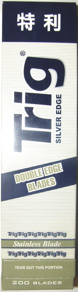 Trig Stainless Steel Double Edge Razor Blades 20 x Pack of 10 (Box of 200 Blades)