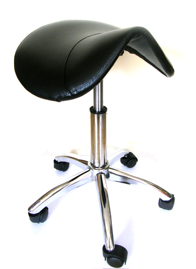 Saddle Stool on Chrome Base - Deluxe with Strong Gas Lift