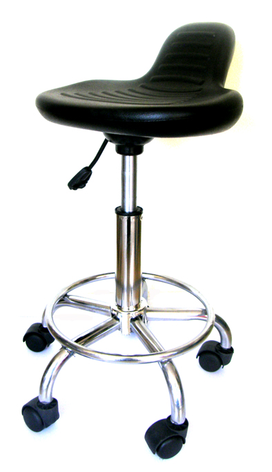 Saddle Stool with Pelvic Contoured Seat with Foot Rest on Chrome Base-The Alterna-with Strong Gas Lift