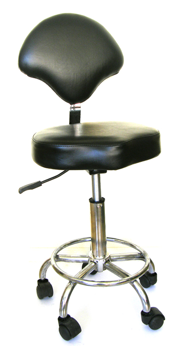 "Saddle Stool with Back Rest on Chrome Base with Foot Rest-D033-The "" Manalli""-with Strong Gas Lift"