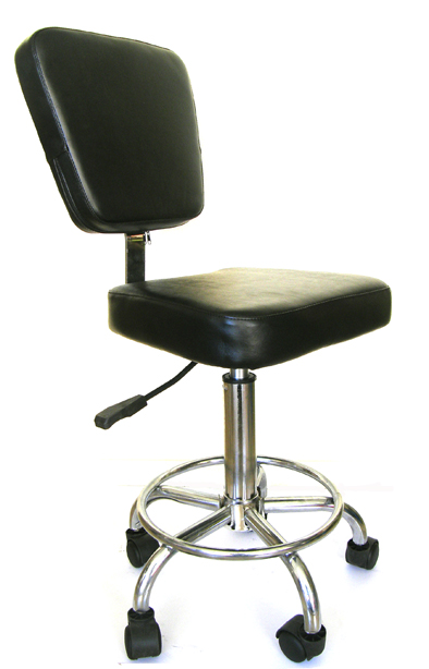 "Saddle Stool with Back Rest on Chrome Base with Foot Rest-D021-The "" Orisa""-with Strong Gas Lift"