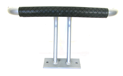 Foot Rest-Floor Mounted T-Bar in Silver with Black Rubber Covering