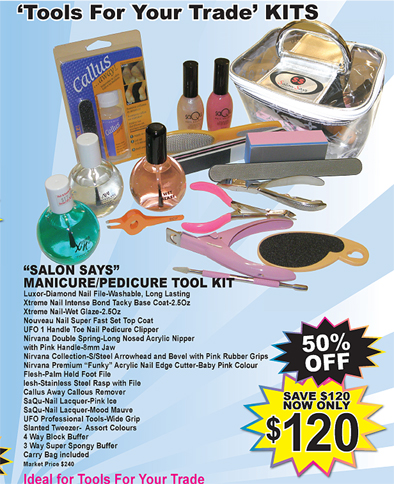 Salon Says Manicure/Pedicure Tool Kit-Total Value $240-Yours for only $120-Save 50%