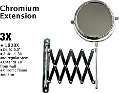 "1808X-Magnifying Mirror with Chromium Extension Wall Mount-Dia 6.5""-2 Sided-3X and regular view"