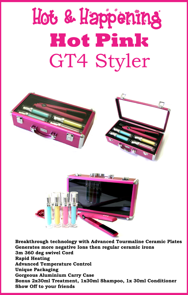 UFO Professional Tools-Hot & Happening-HOT PINK Tourmaline Hair Straightener-as good as GHD!-A New Religion For Hair