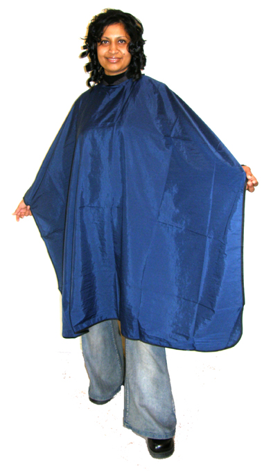 "Impresso ""Crinkle"" Woven 2 Tone Water Repellent Hairdressing Cape-Blue"