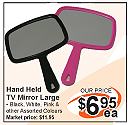 Hand Held TV Mirror Large-Assorted Colours