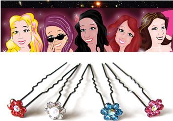 UPJ70-Coloured Diamante Flower 2 Pronged Hair Pins-4 Per Pack