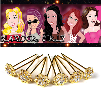 Glamour Girlz Hair Aceessories-UPJ80-Golden Flower Hair Pins 2 Pronged with Multiple Diamantes-6 Pcs per Pack