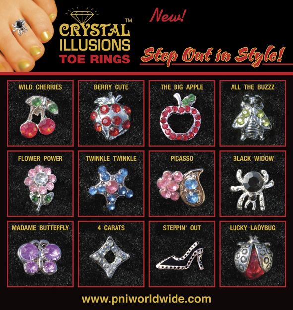 Crystal Illusions Toe Rings-Black Widow