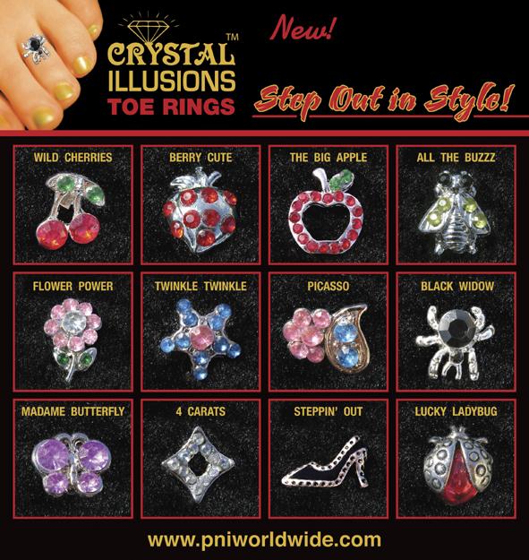 Crystal Illusions Toe Rings-Berry Cute