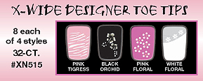 X-Wide Designer Toe Tips-8 Each of 4 Styles-32 ct