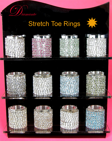 Diamante Stretch Toe Rings-Green