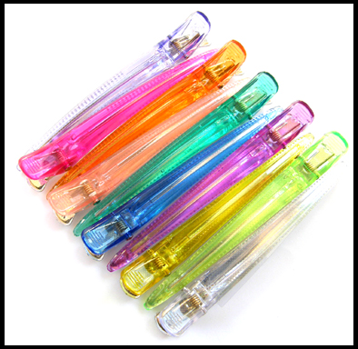 UFO Multi-Coloured Long Duckbil Clips-Transluscent Plastic Tops and  Aluminium Base-12/Pk