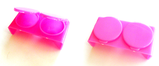 Nirvana Collection Double Dappen Dish with Lids (Plastic)-Hot Pink