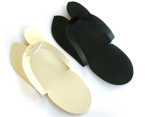 Spa Foam Pedicure Slippers-Black-Price Per Pair