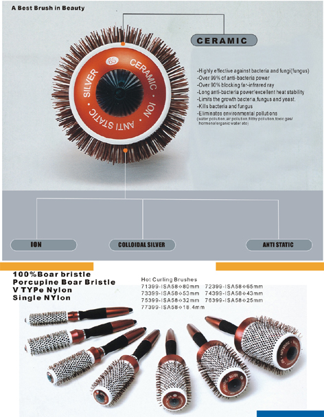 73399-Anti-Static, Ceramic and Ionic Hot Curling Brushes with Pure Porcupine Boar Bristles-Dia 53mm