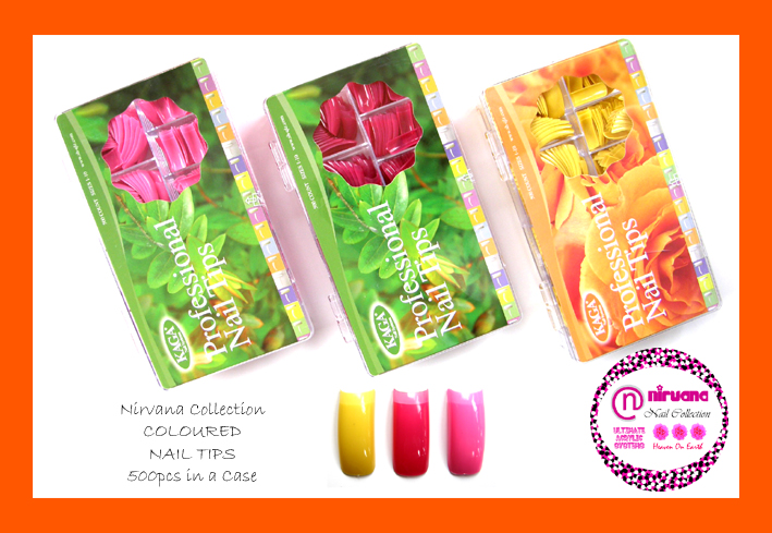 Nirvana Collection Coloured Nail Tips-500 Tips in a Case-Pink