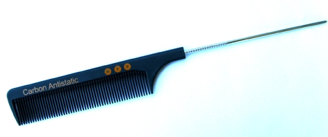 UFO Anti-Static Carbon Combs-Metal Tail Comb