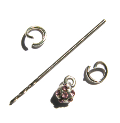 Nail Dangle-Flower with Embedded Pink Diamantes