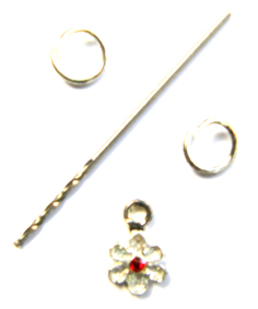 Nail Dangle-Flower-Silver Petals and Red Centre
