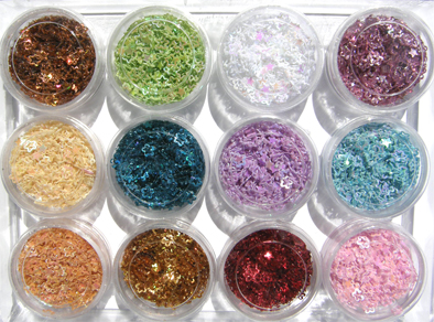Nirvana Collection-Nail Art Glitter Shapes (Flower) in 12 assorted colours-all in an acrylic box