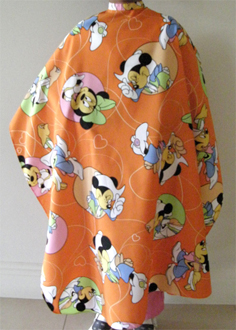Impresso Kids Cape-Orange with Mouse Cartoon Print (with studs)