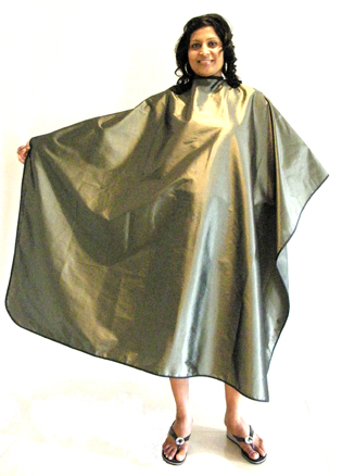 Classic Club Crinkle Woven Hairdressing Cape with Stud fastening-Rustic Green