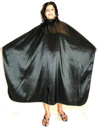 Classic Club Crinkle Woven Hairdressing Cape with Stud fastening-Black