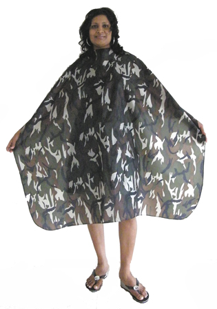 Classic Club Camouflage Hairdressing Cape with Stud Fastening
