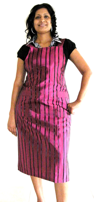 Classic Club Pinafore Apron Hot Pink with Black Stripes